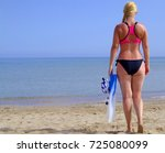 athlete young woman going dive... | Shutterstock . vector #725080099