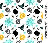 vector halloween seamless... | Shutterstock .eps vector #725085484