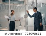 angry boss fights aggressively...   Shutterstock . vector #725090611