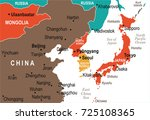 north korea south korea japan... | Shutterstock .eps vector #725108365