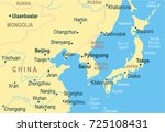 north korea south korea japan... | Shutterstock .eps vector #725108431