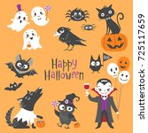 set of cute halloween... | Shutterstock .eps vector #725117659