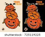 three wise halloween pumpkins... | Shutterstock .eps vector #725119225