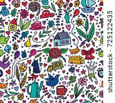 cute kids seamless pattern with ... | Shutterstock . vector #725122435
