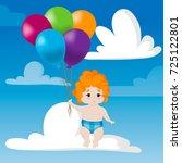 flying little boy with... | Shutterstock .eps vector #725122801
