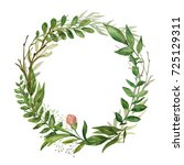 watercolor round wreath with... | Shutterstock . vector #725129311
