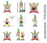 novruz holiday ganster cartoon... | Shutterstock .eps vector #725135101