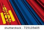 fragment flag of mongolia. 3d... | Shutterstock . vector #725135605