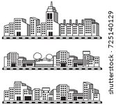building city vector black and... | Shutterstock .eps vector #725140129