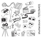 set of movie doodle isolated on ... | Shutterstock .eps vector #725156431