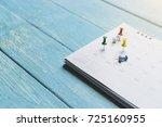 close up of calendar on the...   Shutterstock . vector #725160955