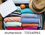 packing a luggage for a new...   Shutterstock . vector #725160961