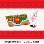 cooked square glutinous rice... | Shutterstock .eps vector #725175385