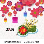 cooked square glutinous rice... | Shutterstock .eps vector #725189785