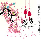 happy new year 2018 greeting... | Shutterstock . vector #725199337