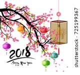 happy new year 2018 greeting... | Shutterstock . vector #725199367