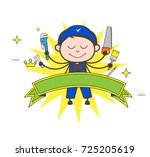 cartoon carpenter with many... | Shutterstock .eps vector #725205619