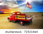 red vintage pick up truck with...