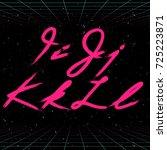 80s retro futuristic font.... | Shutterstock .eps vector #725223871