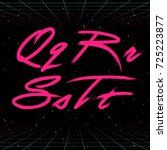 80s retro futuristic font.... | Shutterstock .eps vector #725223877