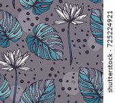 seamless pattern with lotus... | Shutterstock .eps vector #725224921