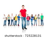 large group of teenage students ... | Shutterstock . vector #725228131