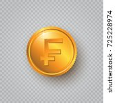 gold coin with switzerland... | Shutterstock .eps vector #725228974