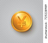 gold coin with yen sign on a... | Shutterstock .eps vector #725228989