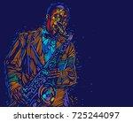 jazz saxophone player. vector... | Shutterstock .eps vector #725244097