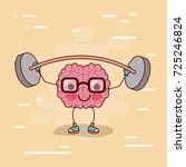 brain cartoon with glasses and... | Shutterstock .eps vector #725246824