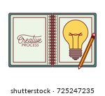 notebook open with color... | Shutterstock .eps vector #725247235