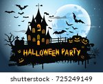 halloween night background... | Shutterstock .eps vector #725249149