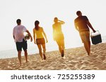 group of four friends going to... | Shutterstock . vector #725255389