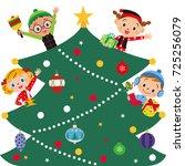 christmas tree and children | Shutterstock .eps vector #725256079