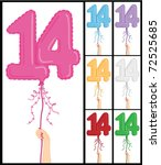 hand holding a number 14 shaped ... | Shutterstock .eps vector #72525685