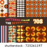 vector set of retro patterns... | Shutterstock .eps vector #725261197