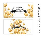 gold heart balloon invitation | Shutterstock . vector #725263915
