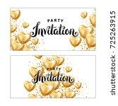 gold heart balloon invitation | Shutterstock . vector #725263915