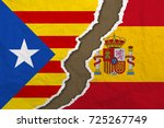 flag of spain and pro... | Shutterstock . vector #725267749