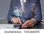 double exposure of businessman... | Shutterstock . vector #725268355