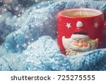winter background   red cup... | Shutterstock . vector #725275555