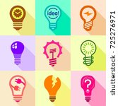 different bulbs with pictogram... | Shutterstock . vector #725276971