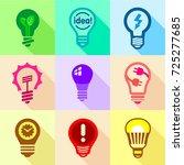 light bulb logo icons set. flat ... | Shutterstock . vector #725277685
