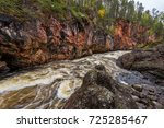 red cliff  stone wall  forest ...   Shutterstock . vector #725285467