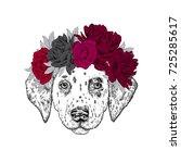 a beautiful puppy in a flower...   Shutterstock .eps vector #725285617
