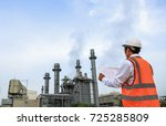engineer is checking around gas ... | Shutterstock . vector #725285809
