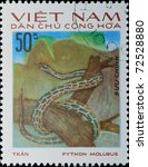 VIETNAM - CIRCA 1983: A stamp printed in Vietnam shows animal reptile snake, circa 1983 - stock photo