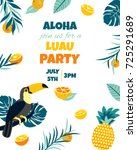 tropical hawaiian poster with... | Shutterstock .eps vector #725291689