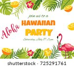 tropical hawaiian poster with... | Shutterstock .eps vector #725291761