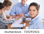 beautiful business woman on the ... | Shutterstock . vector #725292421